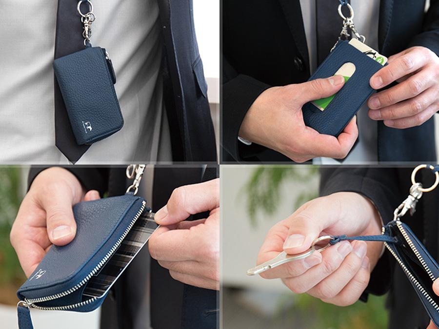 「マルチケース」と「ネックストラップライト」の使用例。パスやカード、キーの収納に便利です。