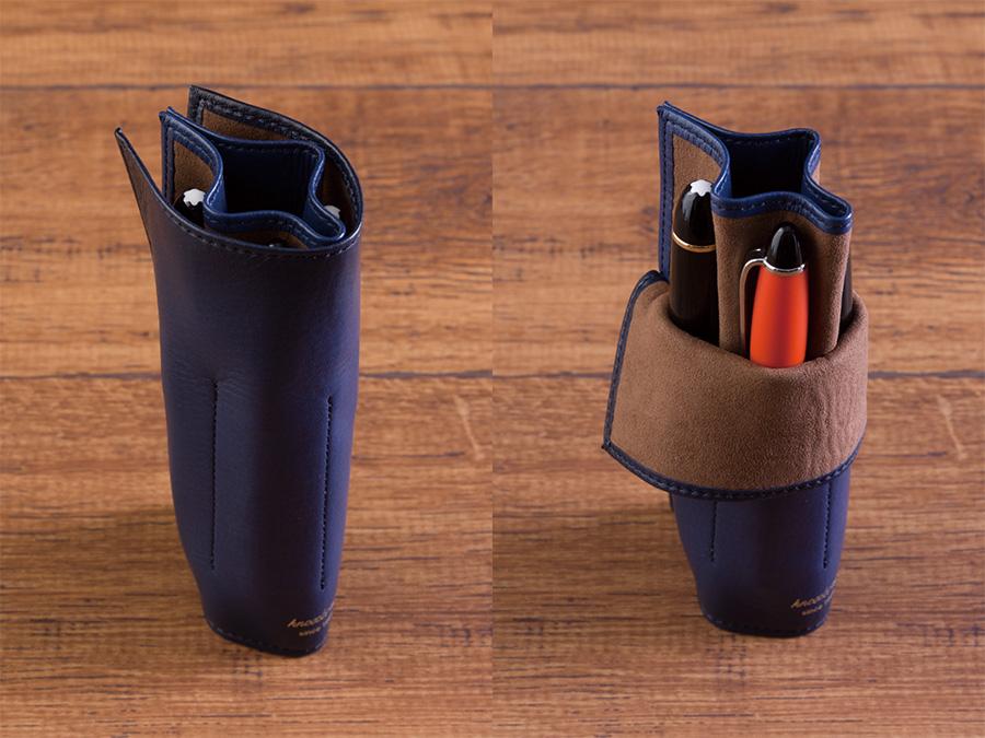 内側のホックを留めることでロール型にもなります。 (※入れる筆記具の数と大きさによりロール形状は変わります)